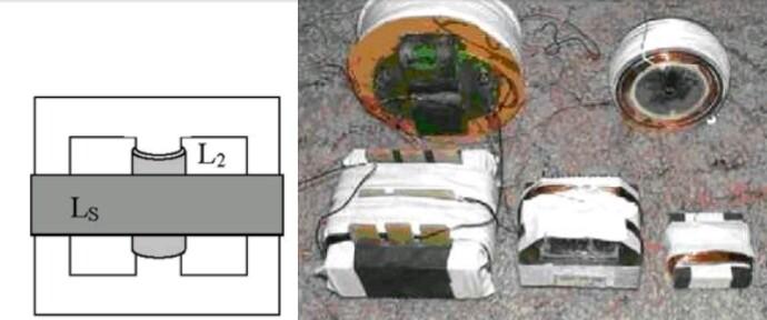 Асимметричный трансформатор на Ш образом сердечнике