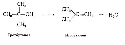Формула реакция получения изобутилена из третбутилового спирта