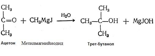 Формула реакции получения третбутилового спирта из Ацетона может быть выражена следующим уравнением