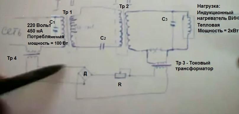 Схема умного резонансного трансформатора Александра Андреева для отопления дома и дачи