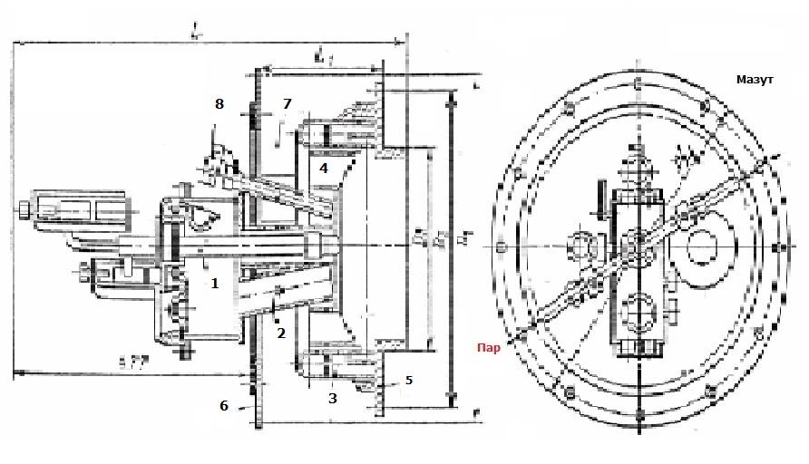 Схема газо-мазутной горелки ГМП для парового котла ДЕ