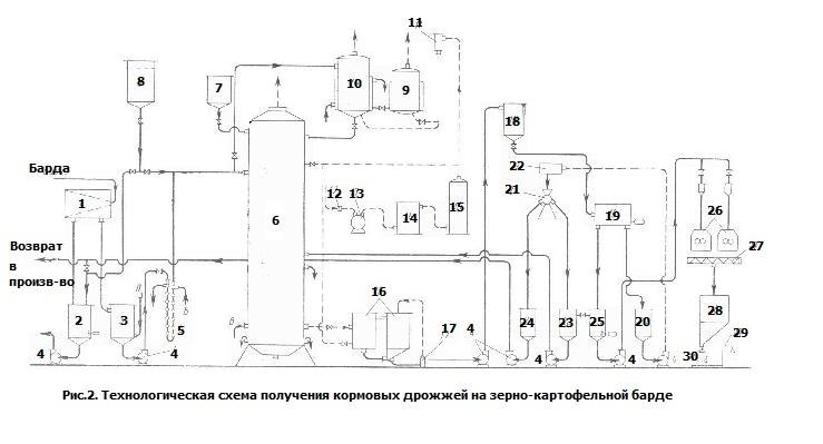 Технологическая схема производства кормовых дрожжей на зерно-картофельной послеспиртовой барде
