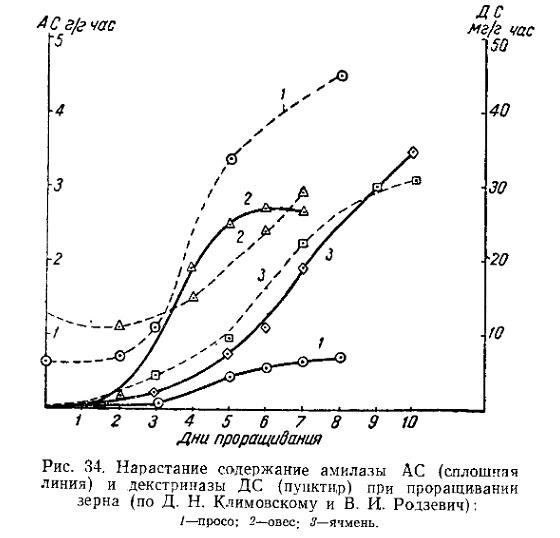 Увеличение амилазы и декстриназы в солоде при проращивании