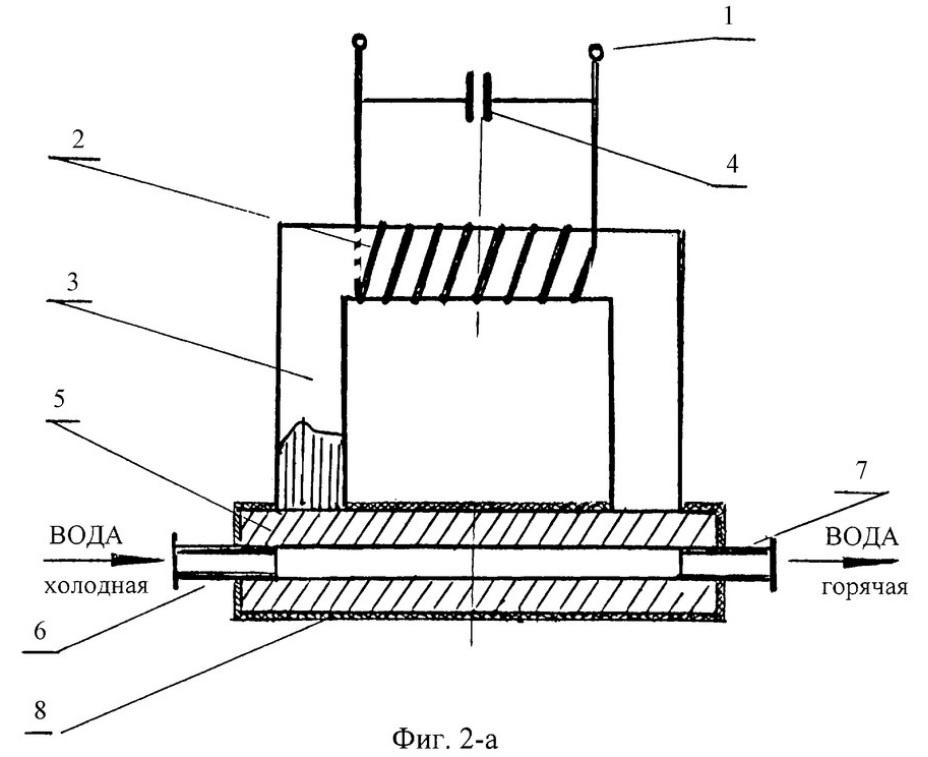 принципиальная схема электронагревателя с П-образным сердечником и снабженного заявленным усилителем магнитного потока с полым нагреваемым элементом