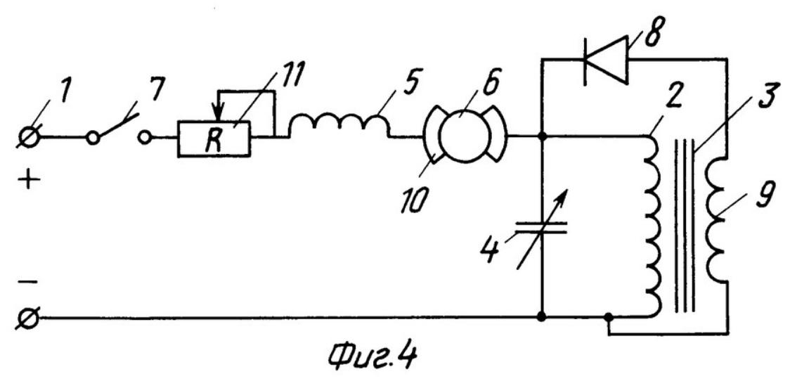 принципиальные электрические схемы (варианты) электропривода постоянного тока средней мощности (для напряжения 400-600 вольт, например, для трамваев, троллейбусов) с заявленным усилителем магнитного потока