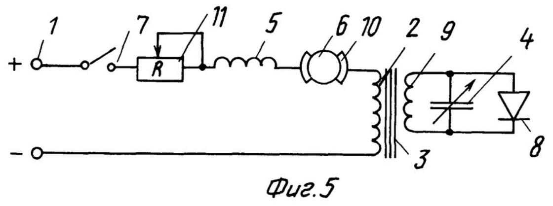 принципиальная электрическая схема электропривода постоянного тока большой мощности (для напряжения 1500-3000 вольт, например, для электровозов) с заявленным усилителем магнитного потока