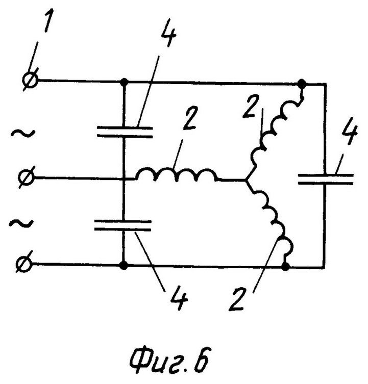 принципиальные схемы образования заявленного усилителя магнитного потока в асинхронном 3-х фазном двигателе, обмотки возбуждения которого соединены по схеме ЗВЕЗДА для линейного номинального напряжения источника питания