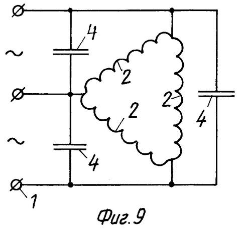 принципиальная схема образования заявленного усилителя магнитного потока в асинхронном 3-х фазном двигателе, обмотки возбуждения которого соединены по схеме ТРЕУГОЛЬНИК для линейного пониженного напряжения