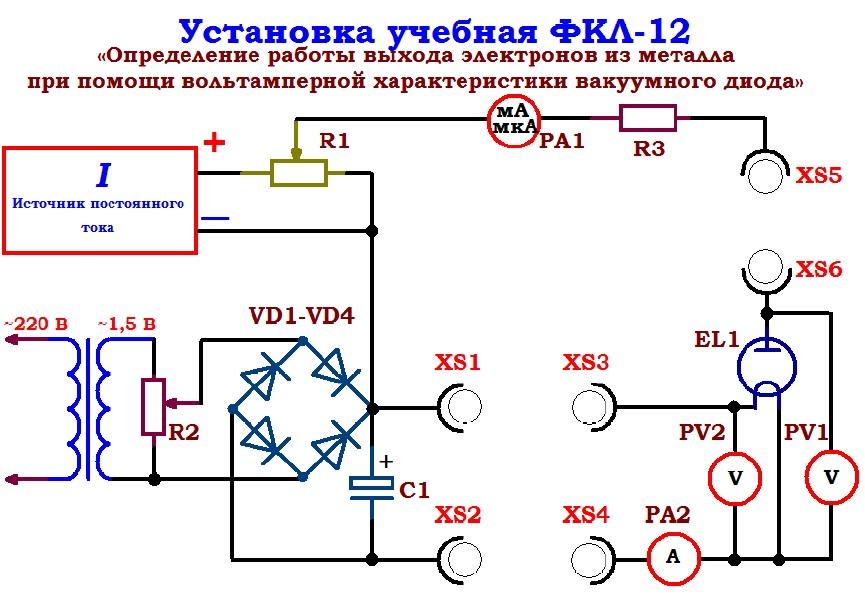 Схема установки для изучения явления термоэлектронной эмиссии