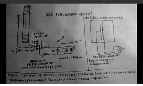Весный фонарик. Схема работы резонансного трансформатора на волнах местной радиостанции